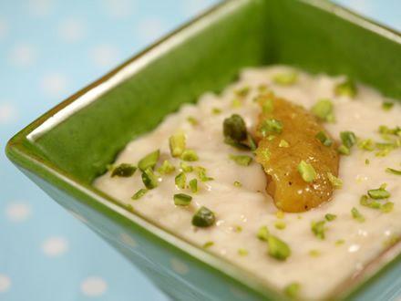 Budinca de orez cu sos de mango