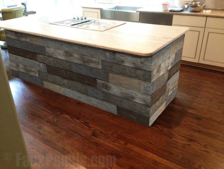 Artificial barn wood panels make any kitchen island look fantastic.
