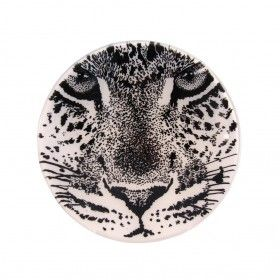 Black on white glass with a hand drawn leopard design.  Hand drawn big cats gaze hauntingly out of the bowl. 'TLC' bowls inspired by the designer's safari experience