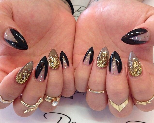 Black gel nails with gold strips and shellac. View Images ... - Gel Nail Designs Black And Gold ~ Midnight Purple And Gold Glitter