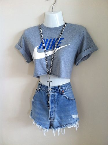 90s VTG Urban Reworked Renewal Nike Crop Top T Shirt Shop Outfitters Huf S 8-12 | eBay