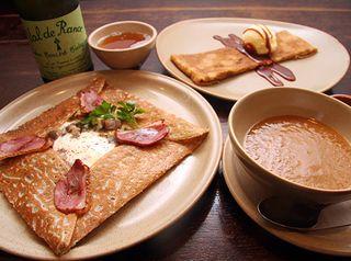 ブレッツカフェクレープリー【シェフのおすすめ】前菜とお飲物に、メインのガレットとデザートクレープが選べるお得なセット