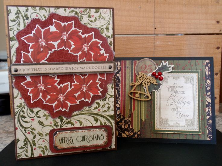 Two lovely christmas cards decorated with a wooden cut out and a large poinsettia wreath. merry christmas, red and green, black and gold, poinsettia, holly, bell, red pearl, stripes, christmas joy.
