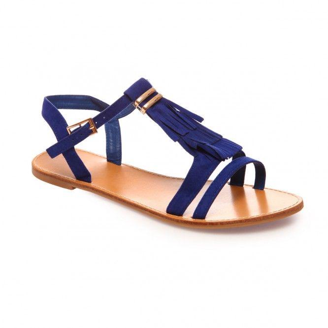 Sandales bleues à franges