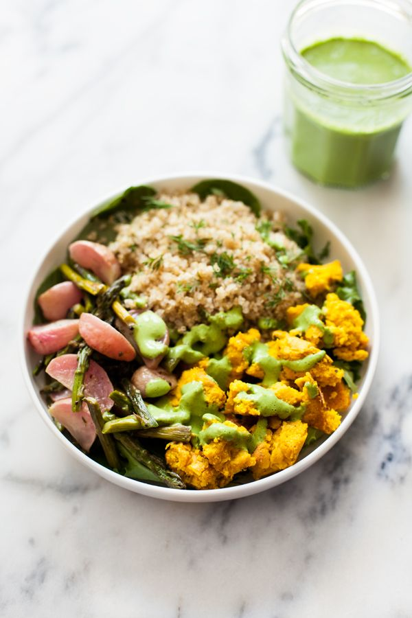 Chickpea Scramble Breakfast Bowls with Roasted Spring Vegetables