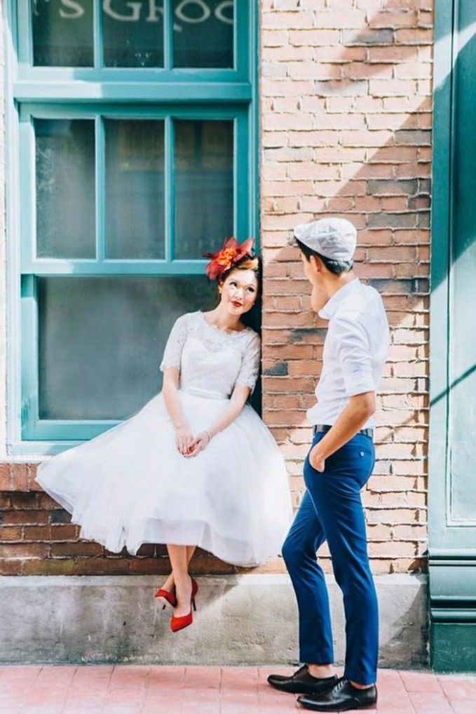 Short Wedding Dress Red Shoes