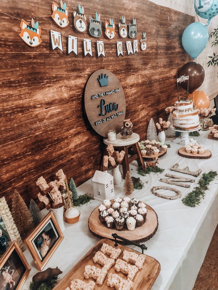 Luca S First Birthday Party Forest Birthday Party 1st Boy Birthday Boys 1st Birthday Party Ideas
