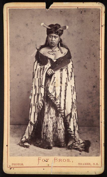 Foy Brothers (Thames): Unidentified Maori woman with huia feathers in her hair, Thames district, 1872-1886.