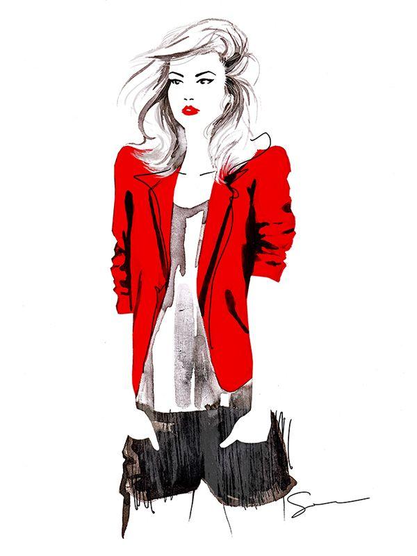 Red Jacket. on Behance by Sylwia Dębicka  #fashionillustration #illustration #artist #art #contemporaryart #hautecouture #vogue #minimalism #paris