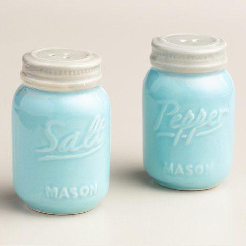 Blue Mason Jar Salt and Pepper Shaker