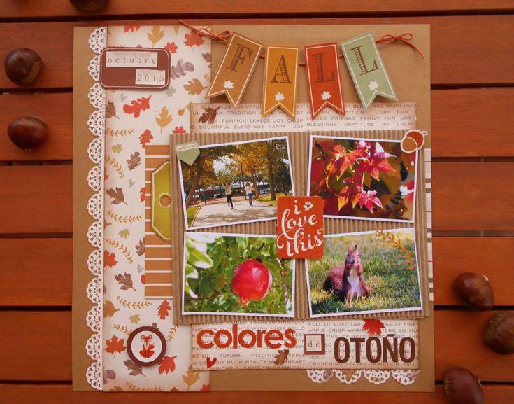"""Página de scrapbooking realizada con la colección """"autumn Day"""" de Photo Play Paper"""