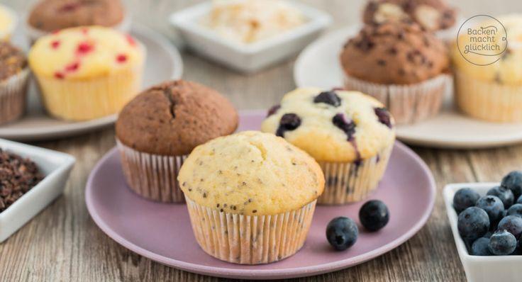 Das perfekte Muffin-Grundrezept mit Tipps und Varianten - so werden Muffins saftig und fluffig, mit Öl oder Butter, Joghurt oder Milch, Schoko oder Obst!