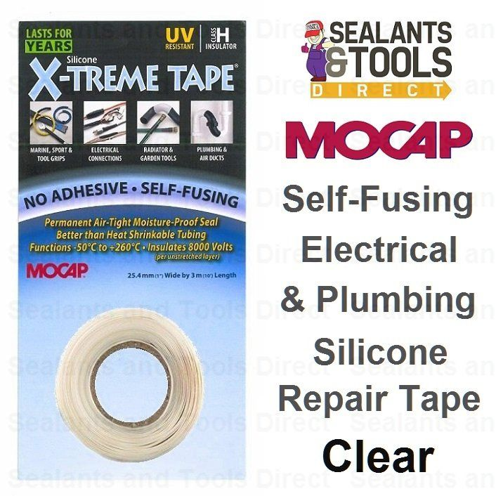£5 Mocap x treme silicone repair tape CLEAR - Creates an air tight, watertight, Insulating seal in seconds.SELF-FUSING NO ADHESIVE. Withstands Over 260°C (500°F) of Heat. Remains Flexible to -60°C (-85°F).Most versatile and easy-to-use quik-fix emergency rescue repair tape available.