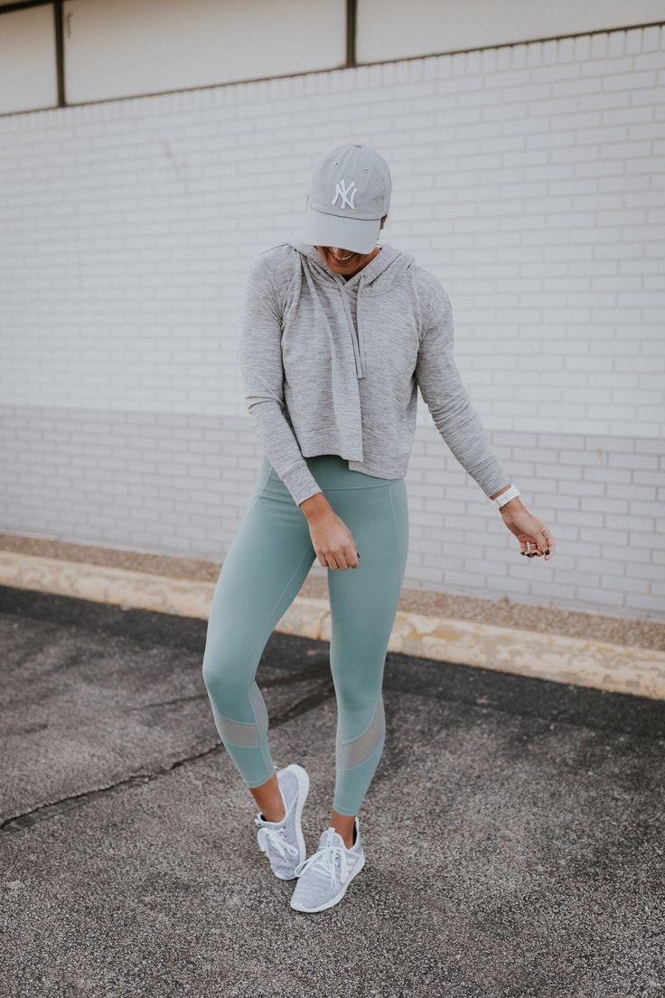 Grey crop hoodie + Alo Yoga leggings