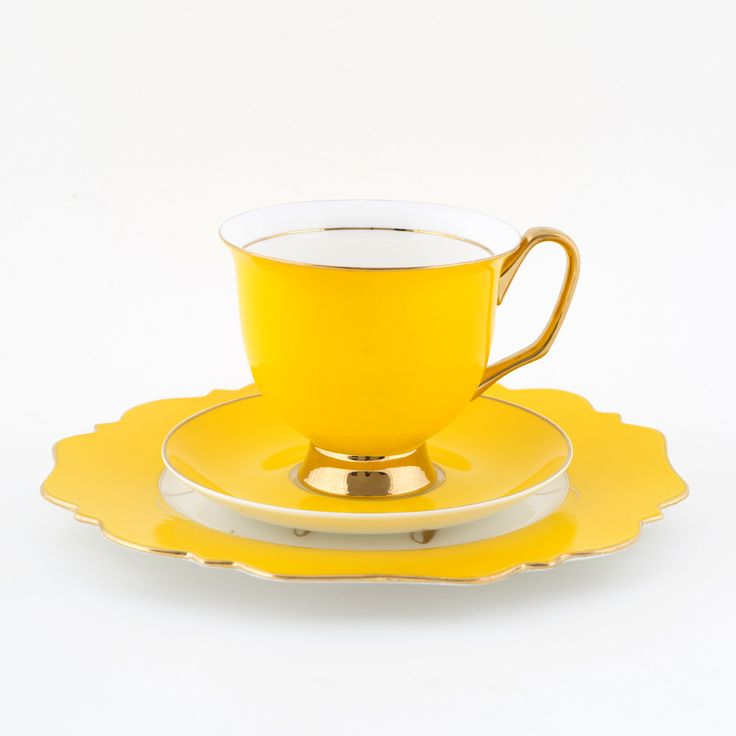 #Yellow #375mL #XL #Teacup and #Saucer #Set with yellow #Pineapple #Sideplate| The #bigger #teacup you have always wanted! Get yours today at #lyndalt.com