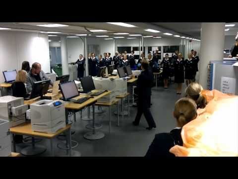 Finnair crew flashmob in the cabin crew lounge