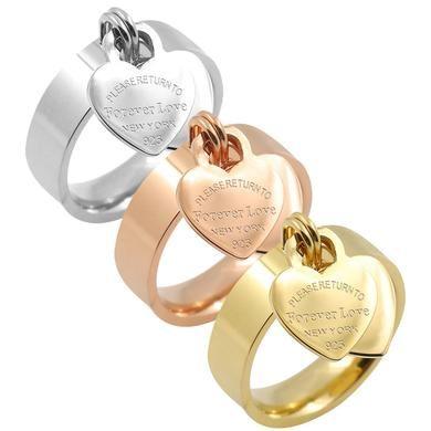 Jóias De Casamento Rosa Coração Anéis de Aço Inoxidável para As Mulheres Anel