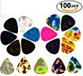 Guitar Picks Cool Unique Designs in Assorted Colors Celluloid Finish Awesome for Acoustic Bass or Electric Guitars (HUGE 100 VALUE PACK) 3 Different Sizes Light/Thin - Medium, & Heavy - Thick