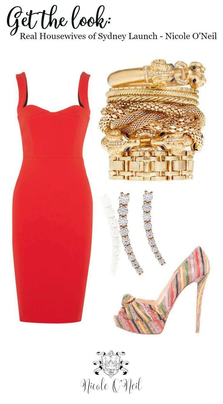 Get The Look: Lady in Red | Be Inspired by this look with red bodycon cocktail dress by Victoria Beckham, Peep Toe Striped Christian Louboutins, Diamond Cuff Earrings by Alinka and Gold Bangle Accessories | Worn by Real Housewives of Sydney star Nicole O'Neil