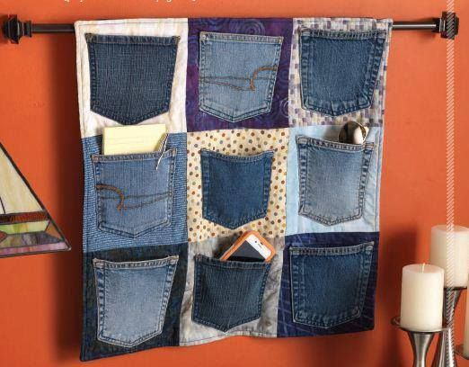 What to do with old jeans?  turn the pockets into hand organizers.