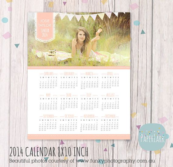 2014 Senior Calendar Photography Template  - Photoshop template - GG004 - INSTANT DOWNLOAD
