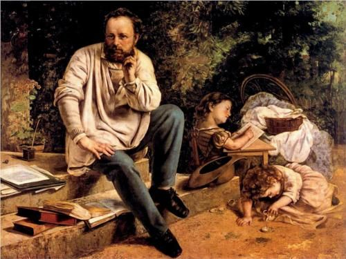 Pierre Joseph Proudhon and his children in 1853 - Gustave Courbet