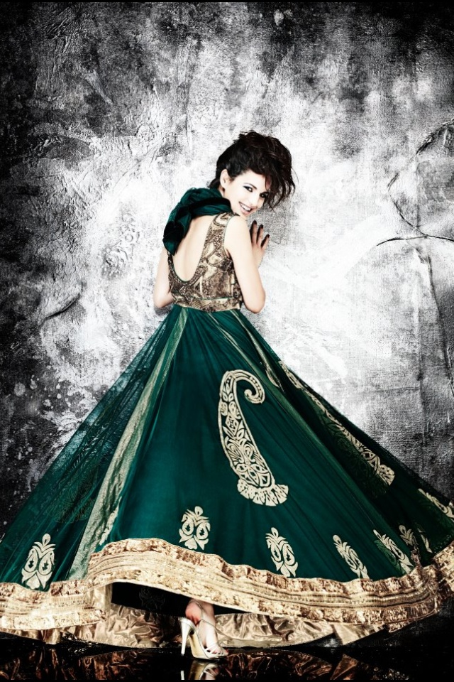 Green anarkali - colours