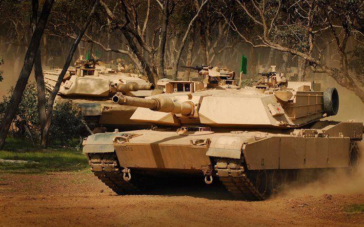 Scarica sfondi M1 Abrams, offroad, carri armati, veicoli blindati, US Army