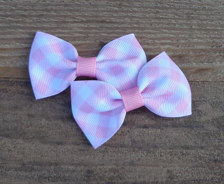 Pigtail Hair Bows~Easter Hair Bow~Pink Gingham Hair Bow~Small Hair Bow~Gingham Hair Bow~Bows For Pigtails~Pastel Hair Bows~Hairbows~Hair Bow by LizzyBugsBowtique on Etsy