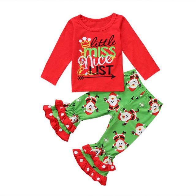 91b68afc5 Kids clothes 2Pc Christmas Toddler Girls Xmas top Pants Outfit Naughty &  NICE - Outfits & Sets