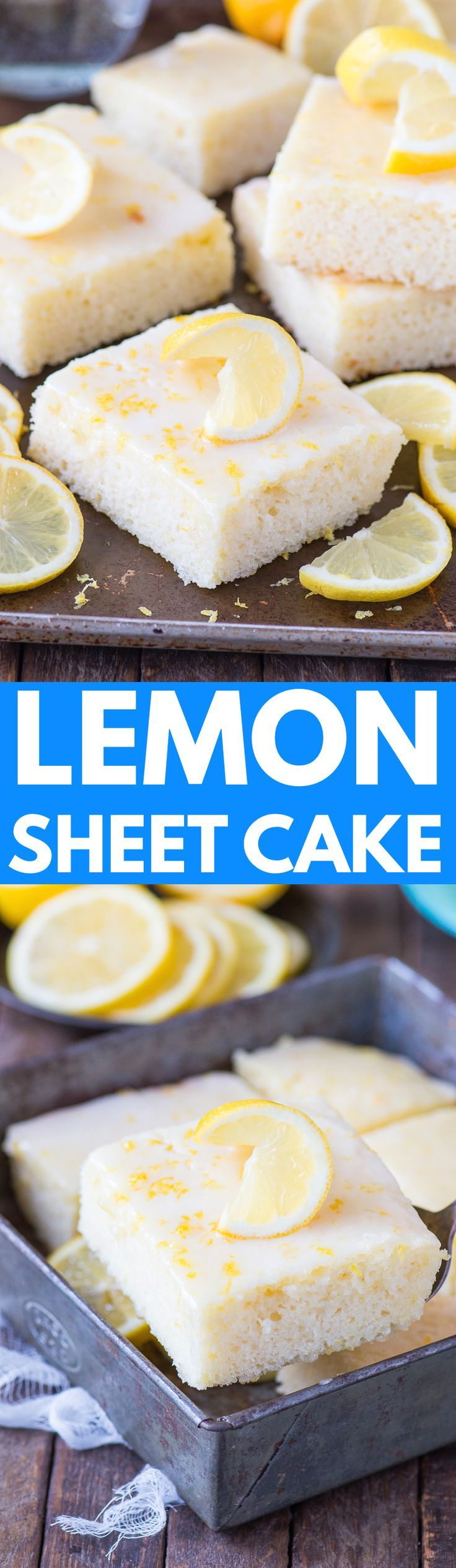 Easy lemon sheet cake recipe. The best lemon cake made in a 9x13 inch pan with a fresh and quick lemon glaze!