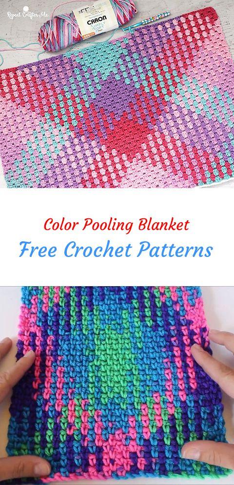 Color Pooling Blanket Free Crochet Pattern #crochet #crafts #homemade #handmade #homedecor