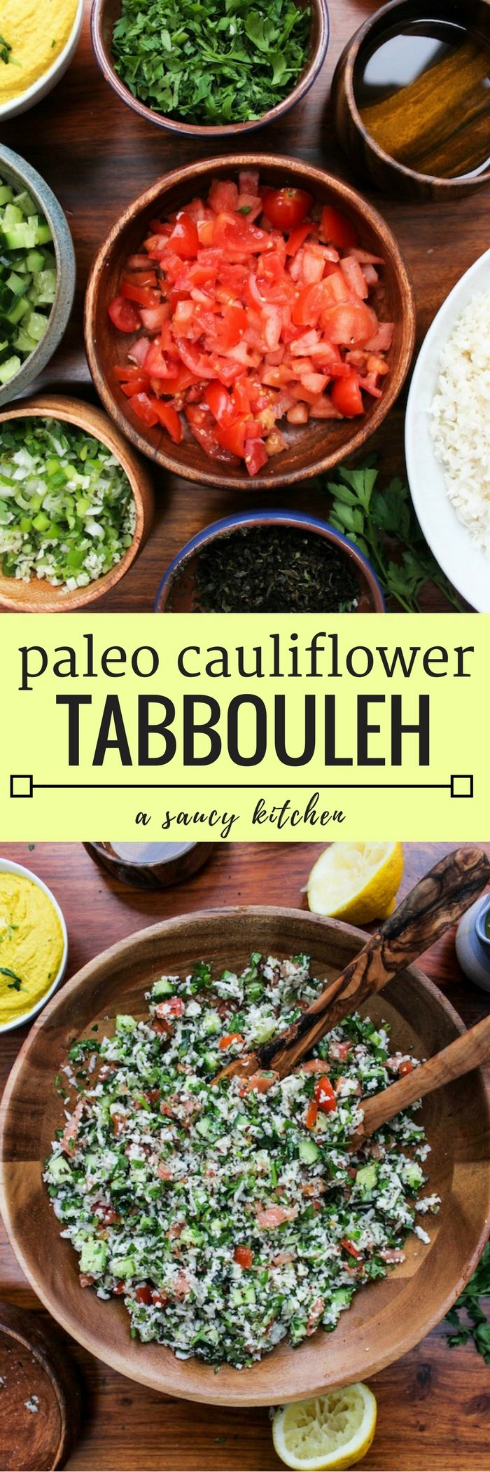 Cauliflower Tabbouleh - a Middle Eastern classic made gluten free | Vegan + Paleo + Whole 30