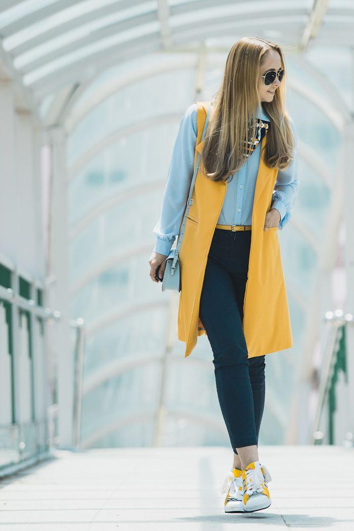 Olga Choi fashion blogger South Korea myblondegal Shein long vest Adidas Originals Superstar sneakers Cambridge Satchel bag Ted Baker scarf-03436