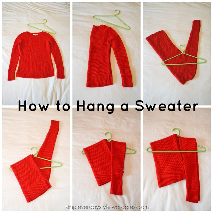 The best way to hang a sweater. Sweater storage. Clothes Organization.