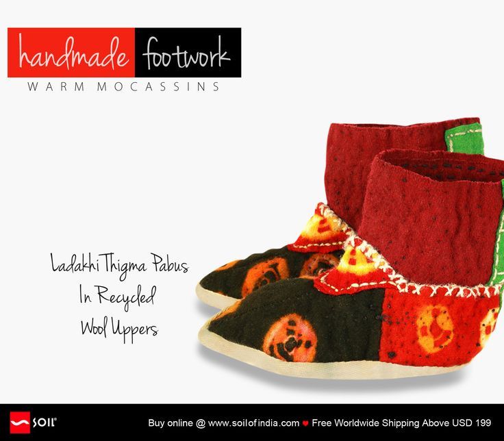 Ladakhi Thigma Pabus In Recycled Wool Uppers Turned-up just to make a statement, these traditional moccasins are hand stitched and hand dyed in recycled woollen uppers that will make everyone else drool. Be different not just for your style, but your care and concern for a better world. Buy Online. Ship Worldwide. http://soilofindia.com/ladakhi-thigma-pabus-boat.html#