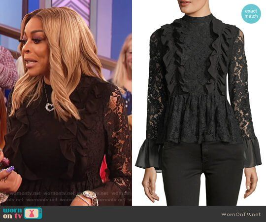 Wendy's black lace ruffle front top on The Wendy Williams Show.  Outfit Details: https://wornontv.net/89308/ #TheWendyWilliamsShow