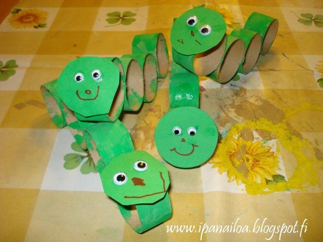 askartelua: eläimet, toukka, paperirullan hylsy  http://ipanaaskartelua.blogspot.fi/2010/09/toukka.html