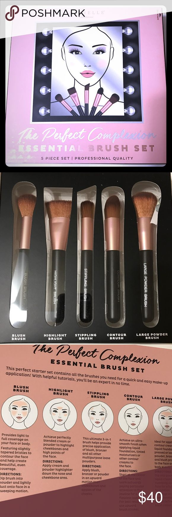 Perfect Complexion 5 piece Brush Set This Perfect Complexion 5 piece Brush Set by Danielle is just what you need in your makeup arsenal to create the perfect face! This perfect starter set contains 5 deluxe professional quality brushes, classic brown hair with Rose Gold Ferrules. Comes with 5 brushes: Blush, Highlight, Stripping, Contour & Powder. Also comes with instruction guide on the inside panel to show you the best way to use each one for the makeup novice or a refresher for the Pro…