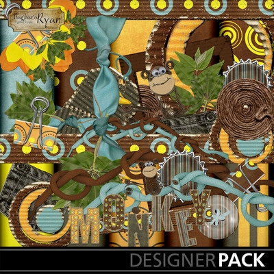 Digital Scrapbooking Kits | Monkey Business Pack-(bryan73) | Boys, Family, Fantasy, Friends, Kid Fun, Nature | MyMemories Barbara Ryan