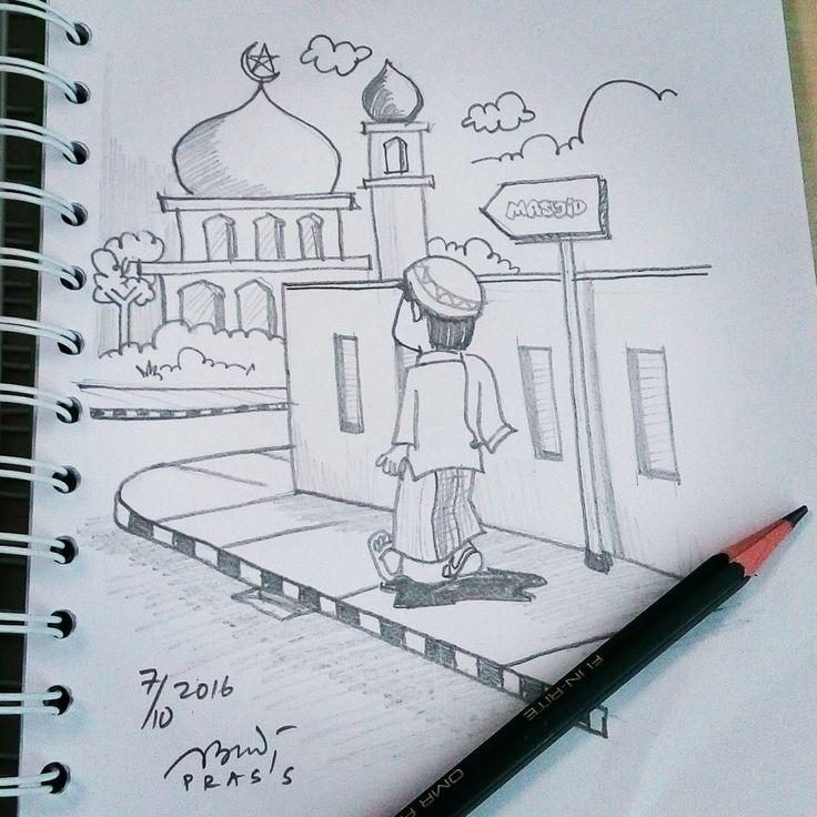 Yuk biasakan #SholatBerjamaah di #masjid.     #Sholat #SholatJumat #pray #praying #iseng #sketch #pencil #sketsa #sketsapensil #karikatur #caricature #pencilsketch #menggambar #gambar #ilustrasi #ilustration #sketching #drawing #art #artwork #seni #senirupa #belajar #belajargambar #cartoon #practice #prasssketch
