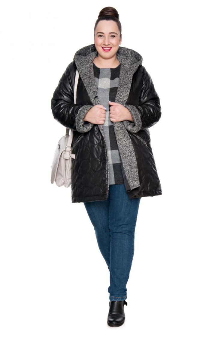 Czarna pikowana kurtka z kapturem - Modne Duże Rozmiary