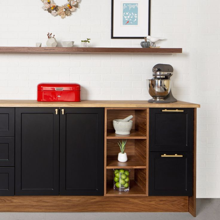 SUPERMATTE black, shaker style Semi-handmade doors fitted to ikea cabinets