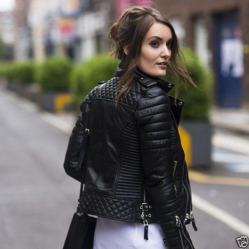 Women Genuine Quilted Leather Lambskin Motorcycle Jacket Biker Slim fit Jacket 4 | eBay #clothing #fashion #bomberjacket #motorcyclejacket #bikerjacket #kozaleathers