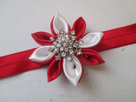 Red and White Christmas Headband Snowflake by NakedOrchidGarters