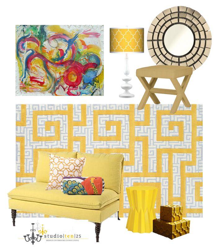 Yellow Living Room Idea Board
