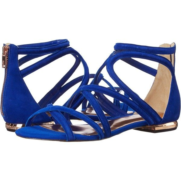 Ted Baker Raria (Blue Suede) Women's Sandals ($76) ❤ liked on Polyvore featuring shoes, sandals, flats, blue, blue flat shoes, blue suede shoes, flat shoes, blue flats and suede sandals