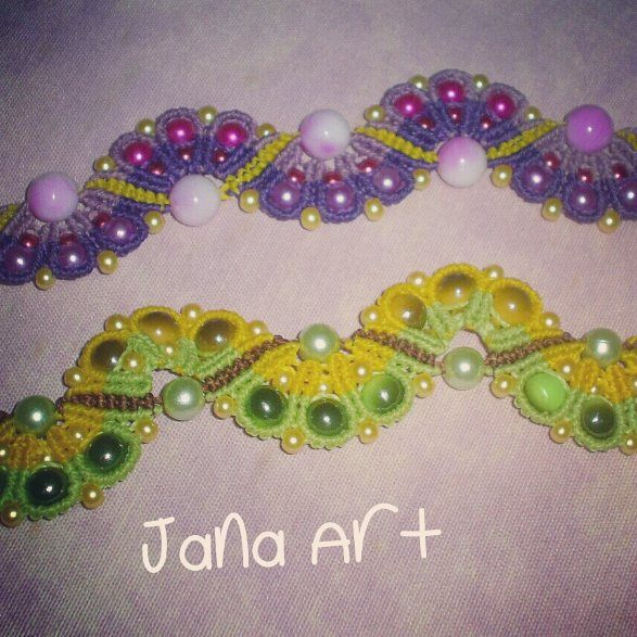 Macramè bracelets with beads.  https://facebook.com/artelien