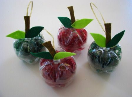 Apple decorations from recycled plastic bottles. Good for Rosh Hashanah or Sukkot