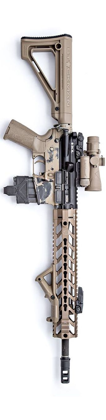 """Fortis Manufacturing has some new rails out, this time it is a 12"""" shown in FDE. Shown with Browe scope, MB556K, Magpul furniture, including the new Fixed Carbine Stock. By Stickman."""